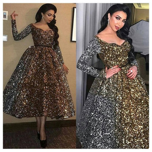 2020 Sexy Femmes Élégantes Formelle Gala Robes De Cocktail Plus La Taille Arabe Musulman Or À Manches Longues Robe De Soirée Courte De Bal Robe Robe