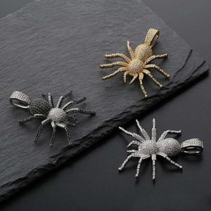 hip hop diamantes llenos araña collares colgante para mujeres de los hombres de lujo de insectos animales colgantes de platino collar de los amantes regalos chapados 3 colores