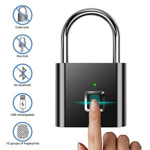 cerradura de seguridad recargable de metal equipaje 100pcs huella digital Candado rápido desbloqueo inteligente de la huella digital marca de los dedos de bloqueo USB para el hogar