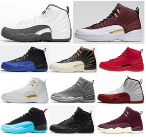 12 Yeni Koyu Gri Gamma Mavi Playoffs Ovo Kiraz Wntr Erkekler Basketbol Ayakkabı 12 S CNY Çin Yeni Yılı Bordeaux Mor Sneakers ile Kutusu