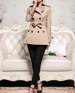 المرأة قصيرة خندق معطف كاكي ماء خندق معطف معاطف الأعمال البريطانية نمط سليم ملابس نسائية AW2