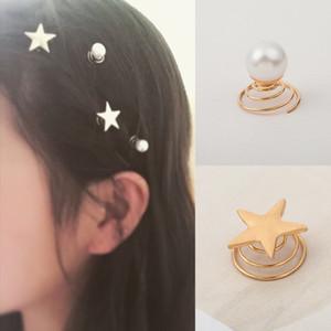 estilo sencillo joyería personalizada coreana de oro de cinco puntas Pearl Spring espiral estrella horquilla del clip de novia