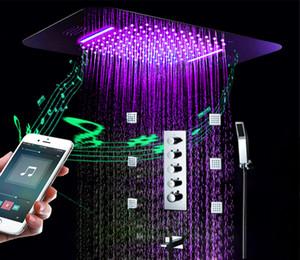 Бесплатная доставка латунь скрытый душ набор с четырьмя функциями высокий поток смеситель клапан LED встраиваемый потолок насадка для душа с музыкой встроенный