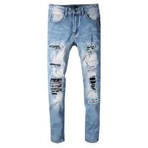 Mens designer jeans fashion brand AM pleat stitching color mens motorcycle yipped jeans hot luxury designer denim trousers