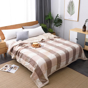 Winter Air-conditioning Quilt Soft Breathable Throw Blanket Thin Stripe Plaid Comforter Bed Cover Bedspread