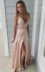Spaghetti V Neck Prom Dresses with Beaded Side Split Long Maid of Honor Dress Sexy Bride Party Evening Gowns