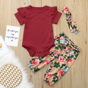 Infant Baby Boys Girls Long Sleeve / Short Sleeve Solid Color Romper+Floral Print Pants+bow Headband 3set Outfits kids Jumpsuit