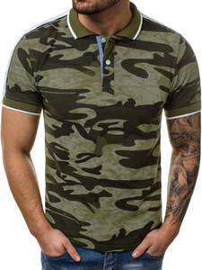 Mens Polo Shirt Lapel 3D Digital Print Camouflage Round Collar Short Sleeve Large Size Casual Polo Tops