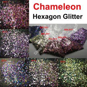 5colors Caméléon Glitter mixte lustre métallique hexagonal Forme Nail Art pour le maquillage Décorations Craft Facepainting Accessoires de bricolage