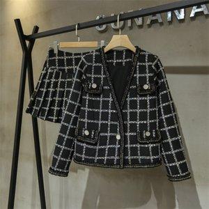 Elegante Eigenschaften der Frauen Herbst-Winter-Plaid Tweed Sets Fashion Langarm Single Button mit V-Ausschnitt Kurzmäntel Slim Fit A-Line