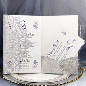 10pcs set Laser Cut Wedding Invitations Card Elegant Lace Favor Rose Gold Silver Business Cards Wedding Party Decor Supplies