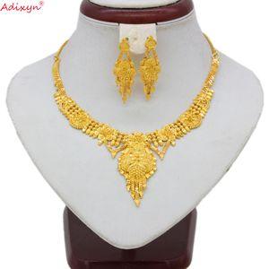 Adixyn India Jewelry Set Girocolli Collana color oro / Rame Orecchini nappa per donna Dubai / Ethiopian Party Gifts N06084