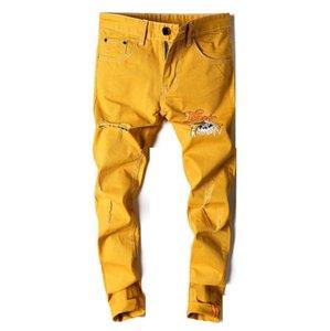 Hombres Vaqueros ajustados amarillo dril de algodón pantalones de Jean buena calidad de los hombres Stretch Jeans delgado largo de High Street Fashion Style