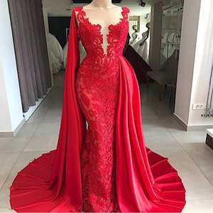 Saudi Arabic Red Mermaid Lace Dubai Evening Dress 2019 Elegant Long Women Formal Gowns with Cape Special Occasion Prom Dresses