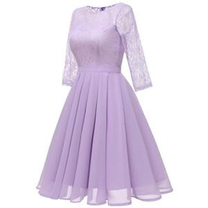 Vestidos Dama De Honor Cortos 2020 Lace Chiffon 3 4 Sleeve Bridesmaid Dress Elegant A Line Wedding Party Women Guest Dresses