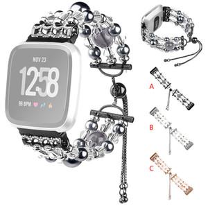 Los granos cristalinos de lujo Tres granos redondos de banda de reloj Para Fitbit Versa 2 / Versa reloj Smart Watch Lite mujeres Correa para la muñeca de la pulsera