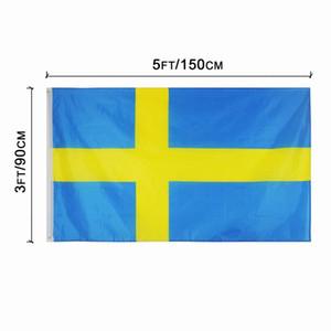 Швеция Флаг 3x5FT 150x90cm полиэстер печать Крытый Открытый Национальный висячие флаг с латунными креплениями Бесплатная доставка
