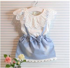 I nuovi capretti di modo delle neonate del cotone cute donna principessa maniche Denim Tulle bowknot Abiti