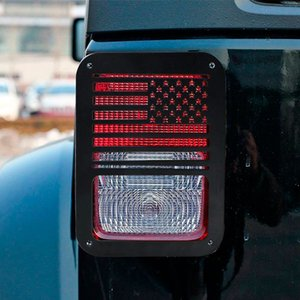 CAR 2PCS Luz trasera Luz trasera Cubierta Guardia EE. UU. Bandera de Estados Unidos para 2007-2016 Jeep Wrangler AK