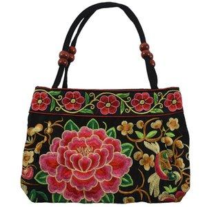 Çin Tarzı Kadınlar Çanta Nakış Etnik Yaz Moda El Çiçek Bayanlar Bez Omuz Çantaları Çapraz vücut (Çiçekler)