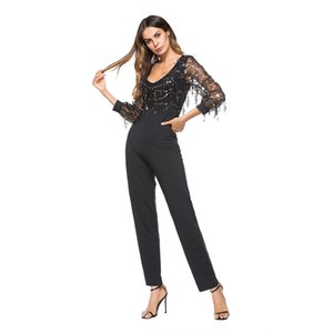 New Sexy V Collar Perspective Long Sleeves Sequins Women's Clothes Conjoined Pants Trousers