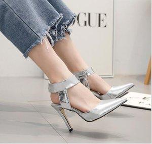 2019 modelli di esplosione Europa e Stati Uniti Van argento scarpe a spillo stiletto moda