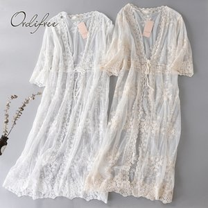Ordifree 2019 Summer Women Long Cardigan Coat Tulle Mesh Sexy White Lace Beach Maxi Cardigan Blouse Outwear Holiday Clothes Y200622
