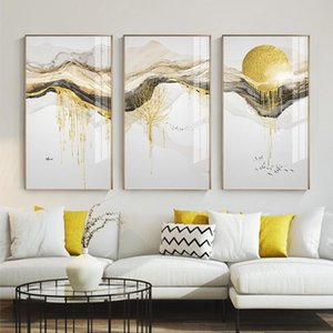 Abstract Golden Sun pintura da lona de fluxo Big pintura Posters Prints moda Tableaux Sala Nordic Wall Art Decor Tableaux