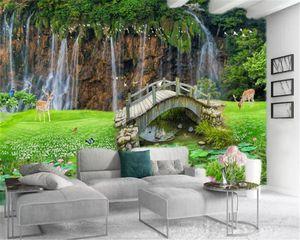 3d Landscape Wallpaper Sika Deer Wooden Bridge Flowers Grass Beautiful Landscape Waterfall Scenery Interior Decoration Wallpaper