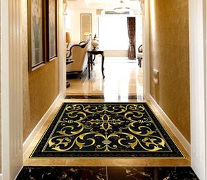 Personalizado piso mural papel de parede preto diamante mármore padrão clássico 3d piso sala de estar quarto varanda pvc adesivo de parede decoração da sua casa