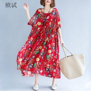 Womens Summer Fashion Plus Size Dress Algodón Lino 4xl 5xl 6xl Mujeres Gran Estampado floral Loose Casual Vestidos Largos Nueva Llegada 2019 Y190507