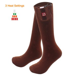 QILOVE Brown Electric Socks with Heating 3.7V Lithium Battery Cold Winter Thick Crew For Man And Woman