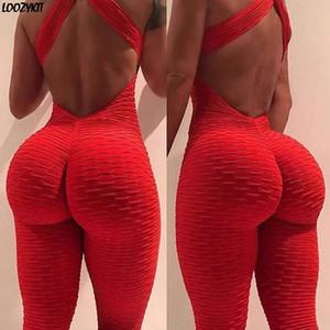 de Sexy Halter Mulheres Treino Yoga cintura alta Reproduzir terno slim Backless Top Correndo Sportswear Calças Push up Jumpsuit