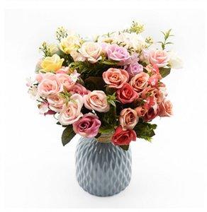 13heads silk roses Bride bouquet Wedding christmas decoration for home vase ornamental flowerpot artificial flowers