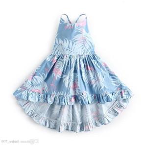 여자 아이 베이비 백 레스 홀터 프릴 여름 드레스 플라워 플라밍고 프린트 웨스턴 뉴 패션 프린세스 베크웨어 드레스