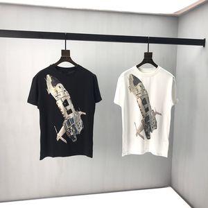 Primavera-Verão Europa Itália Moda Casual Plano frontal Spaceship Voltar triângulo applique Tee Men camisa do desenhista t Rua mulheres Camisetas