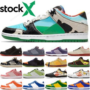 "2020 Ben & Jerry's x Nike SB Dunk Low ""Chunky Dunky"" Hombres Mujeres Zapatillas de deporte Travis Scotts Panda Pigeo Raygun Tie Dye zapatillas de running para hombre 36-45"