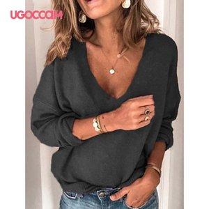 UGOCCAM con cuello en V manga larga Blusas Tops minimalista de tejer casuales color sólido caliente del jersey 2020 de invierno más el tamaño de los puentes