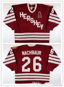 Jersey su ordinazione 5XL 6XL Vintage 1987-1988 Don Nachbaur Hershey Bears gioco hockey jersey ricamo cucito Personalizza qualsiasi numero e il nome Jersey