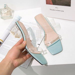 Wholesale Transparent Jelly Women's Slippers Summer Open Toes Shoes Fashion Woman Slides Square Heels Sandals Mule Footwear Zapatos De Muje
