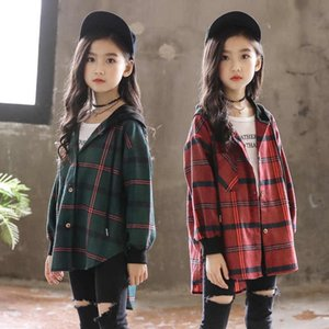 Hot 2019 Children Blouse Girl Cotton Green Red Plaid Shirts for Teenagers Spring Autumn Fashion Hooded Cardigan Jacket 3-14Yrs Y200704