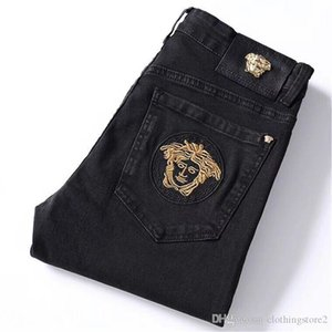 Fashion trend animal embroidered jeans men's autumn winter new black slimming shape small feet long trousers