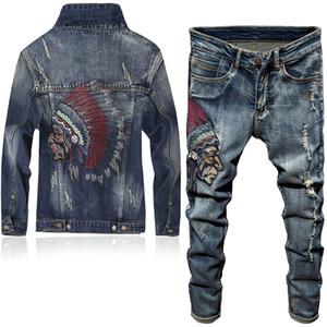 2020 i più nuovi uomini di modo 2 collega gli insiemi indiano del ricamo di stile punk manica lunga Campera Hombre Foro strappato denim Pants Man Suit