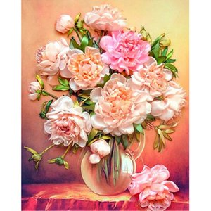 Pink Rose Flower Full Drill DIY 5D Round Rhinestone Embroidery Diamond Painting Cross Stitch Kits Mosaice Ornamental