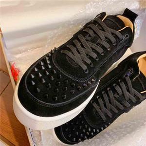 2020 Low Sneaker Spiked Bottom Red Soles Happyrui verzierte Spikes Männer Art und Weise echtes Leder Pailletten Junior-Walking-Schuhe mit Kasten