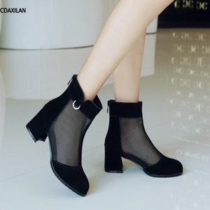 CDAXILAN novo ankle boots moda feminina nubuck malha de couro médio sapatos de salto alto sapatos de verão respirador botas