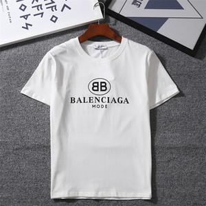 Лето 2020 Мужчины футболка с коротким рукавом Круглый воротник Новый Сплошной цвет вскользь Slim Fit футболки Мужская одежда Мужской Верхняя рубашка 100% хлопок