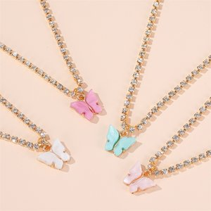 Japan & South Korea Sweet Butterfly Necklace Acrylic Color Beauty Wild Wild Clavicle Chain Personality Lady Necklace butterfly necklace