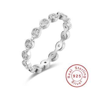 Solid 925 Sterling Silver Ring Fascinante Marquise Brilhante Empilhável Anéis de Dedo com Clear CZ Original Jóias Finas