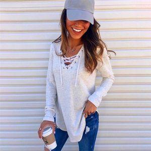 Kleidung Herbst Weibliche Pure Color Tops Modedesigner Luxus V-Ausschnitt, Kleidung mit Casual Women Lose